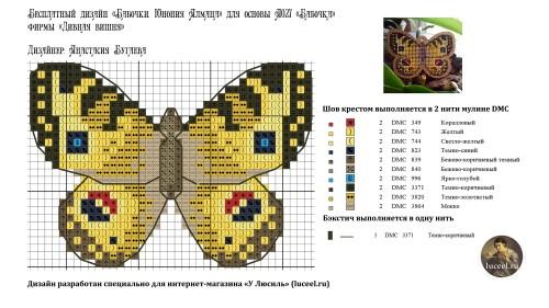 Бесплатная схема для вышивания Бабочки Юнония Алмана специально для интернет-магазина У Люсиль luceel.ru
