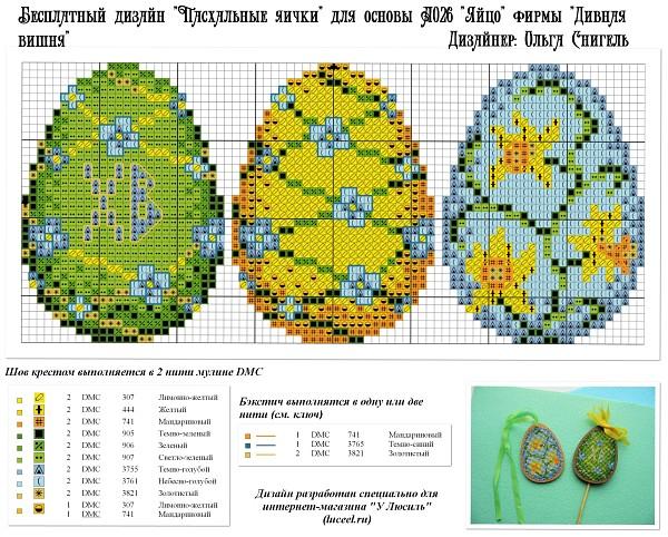 Бесплатная схема для вышивания Пасхальные яички разработана для основы А026 Яйцо фирмы Дивная вишня