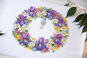 Мережка К-108 Венок с ирисами Wreath with Irises