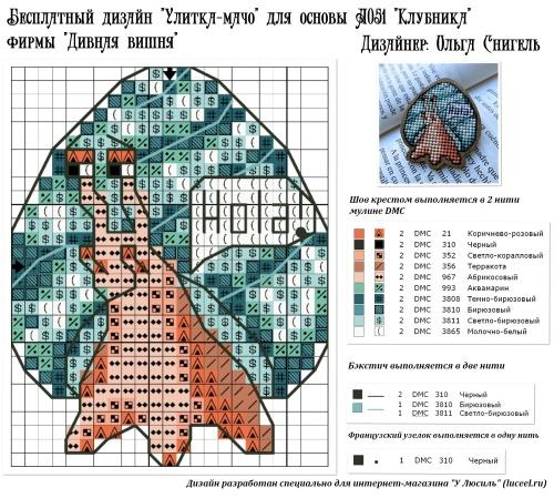 Бесплатная схема Улитка-мачо для основы А051 Клубника фирмы Дивная вишня